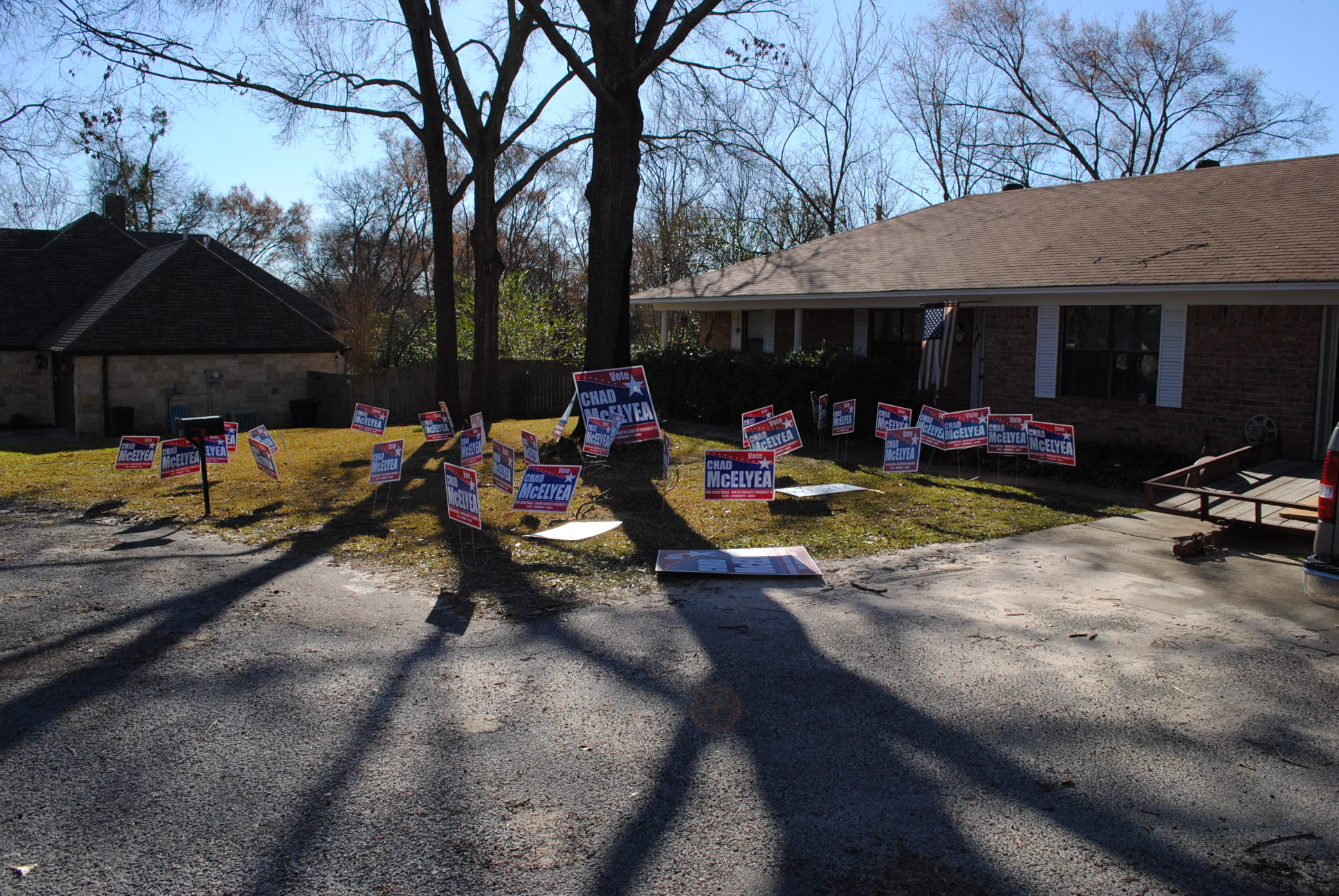 Missing campaign signs found in Smith County yard