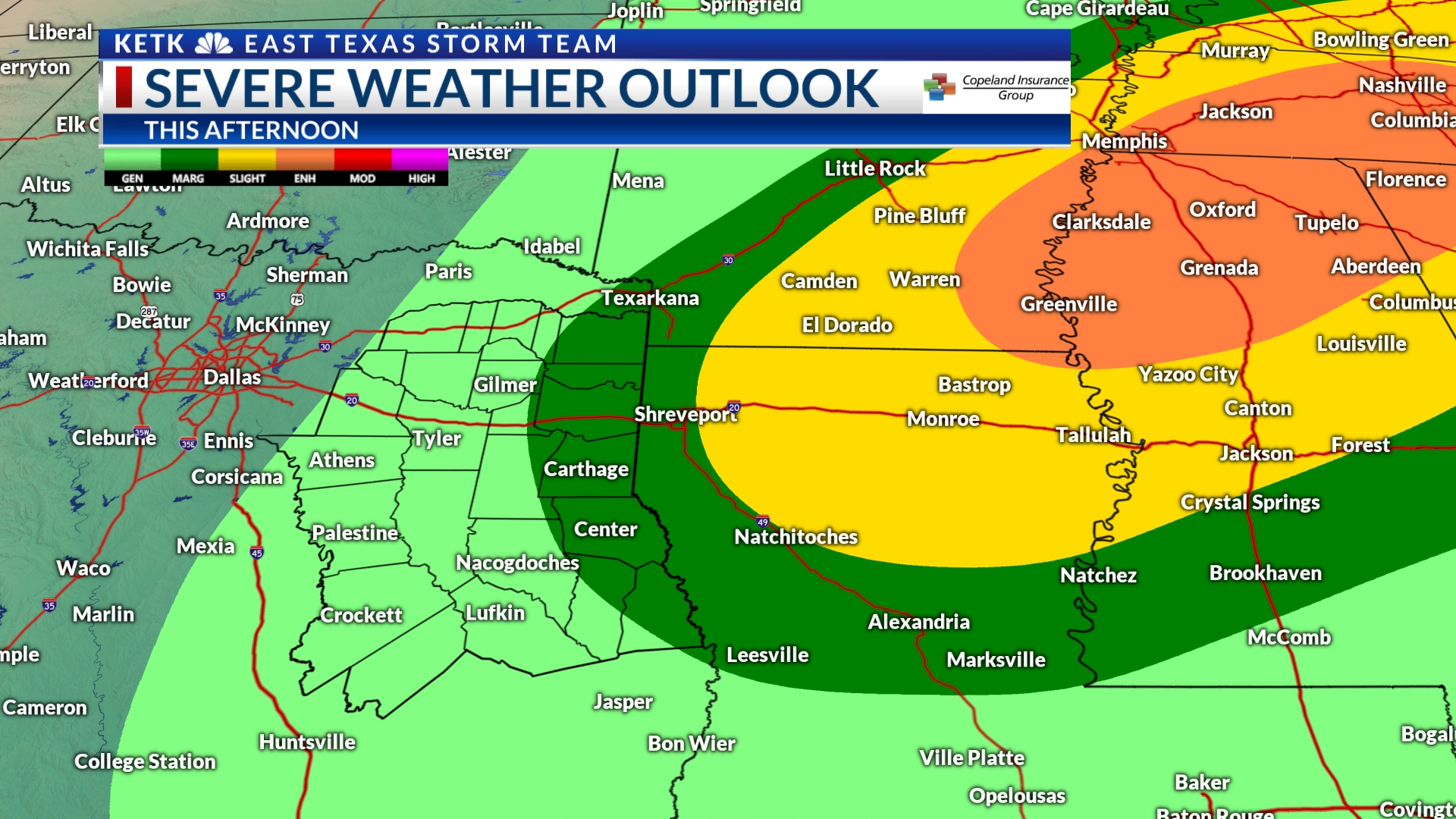 Monday afternoon weather: Severe weather should miss most of