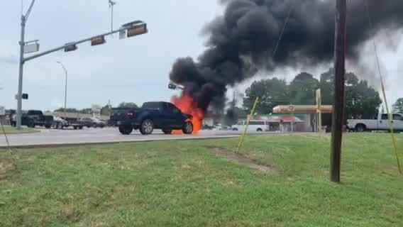 Car engulfed in flames on Loop 281 in Longview