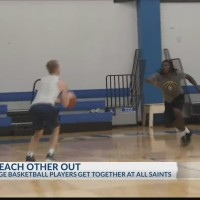 Local college basketball players helping each other out this summer