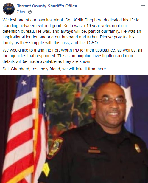 UPDATE: No evidence to suggest deceased Tarrant deputy was